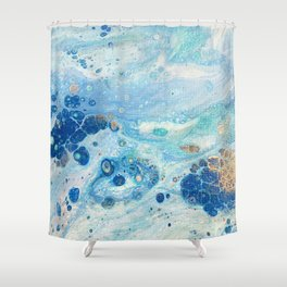 Under the Sea - Blue Abstract Acrylic Pour Art Shower Curtain