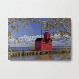 Red Lighthouse by Holland Michigan on the Lake Michigan Shore Metal Print