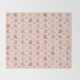 Cute hedgehogs - pink Throw Blanket