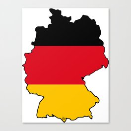 Germany Map with German Flag Canvas Print