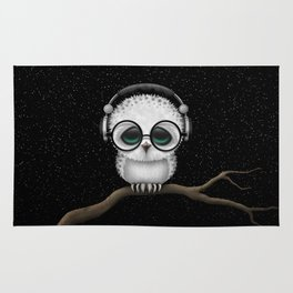 Cute Baby Owl Dj with Headphones and Glasses Rug