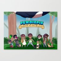pewdiepie Canvas Prints featuring Pewdiepie: Legend of Brofist by Kiwa