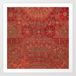 Bohemian Medallion II // 15th Century Old Distressed Red Green Colorful Ornate Accent Rug Pattern Art Print