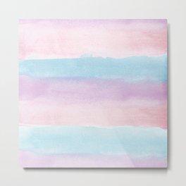 Modern blush pink teal color block watercolor brushstrokes stripes Metal Print