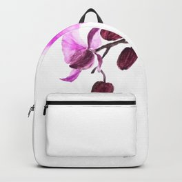 pink orchid flower watercolor painting Backpack