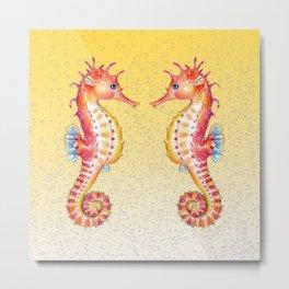 Seahorses Yellow Bubble Metal Print