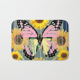 ABSTRACT PINK BUTTERFLY TEAL GARDEN SUNFLOWER Bath Mat