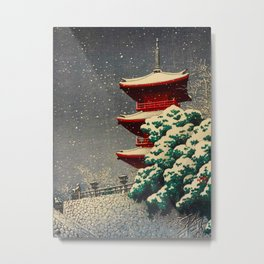 Japanese Woodblock Print Winter Snow Red Pagoda Green Tree Beautiful Composition Metal Print