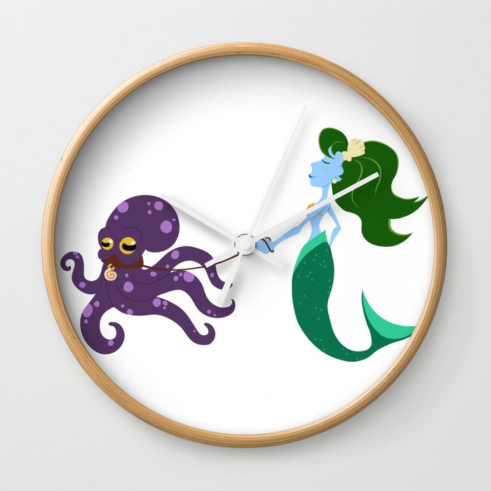 Mermaid and her Octopus Wall Clock