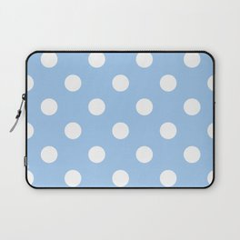 Polka Dots - White on Baby Blue Laptop Sleeve