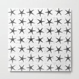 Vintage Starfish Allover Pattern Metal Print