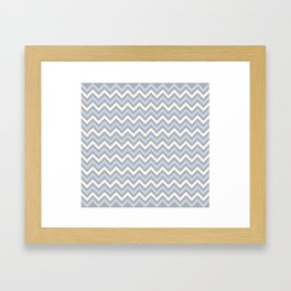 Chevron - light blue and grey Framed Art Print
