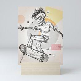 skeleton skater Mini Art Print