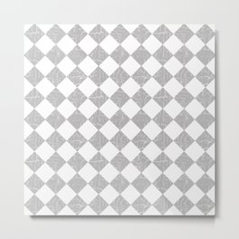 Rustic Farmhouse Checkerboard in Gray and White Metal Print