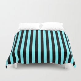 Electric Blue and Black Vertical Stripes Duvet Cover