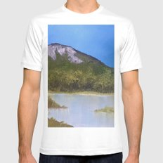 Mountain Lake I White Mens Fitted Tee MEDIUM