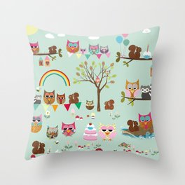 Owl park Collage Nursery Decoration Throw Pillow