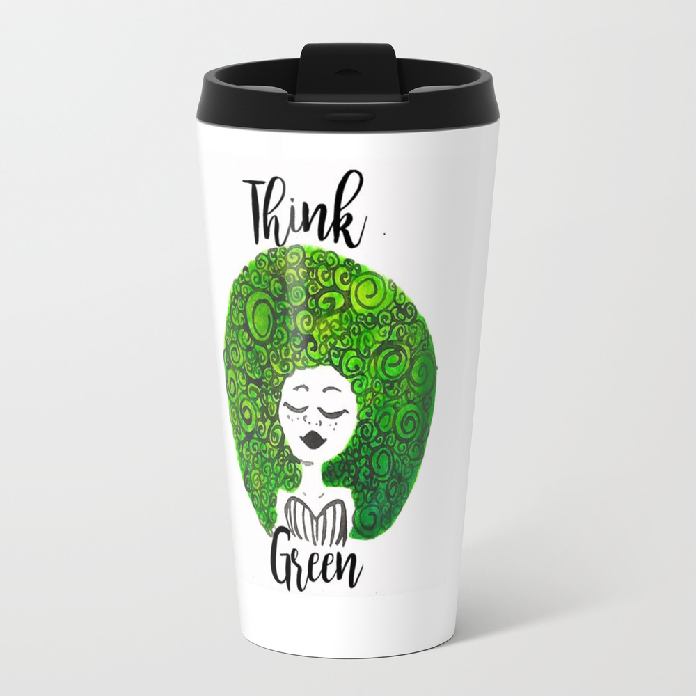 Think Green Metal Travel Mug by Patricia48gm MTM8396046