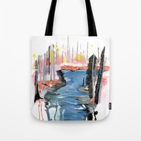 river Tote Bags featuring River by Halfmoon Industries