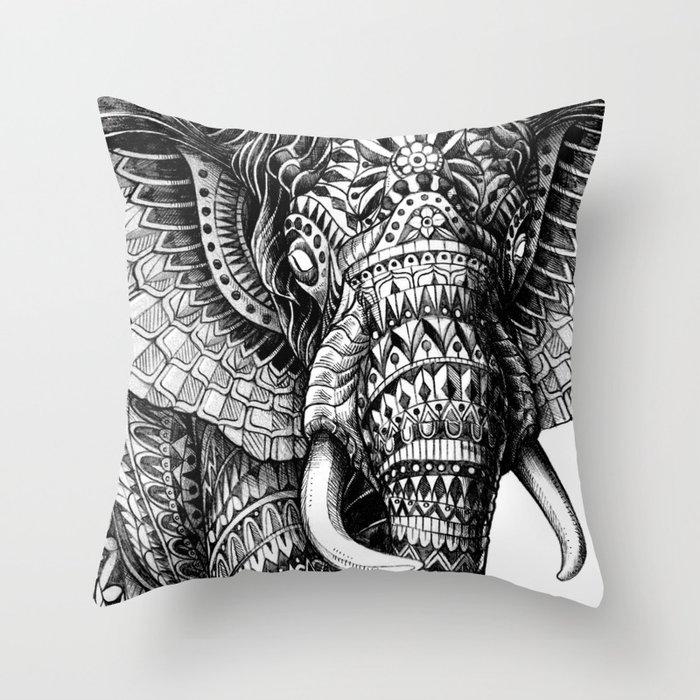 Ornate Elephant v.2 Throw Pillow