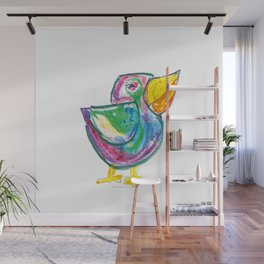 Funny bird illustration for children, colourfull sketch, painting Wall Mural
