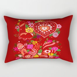 Love Hearts Flowers - Valentine's Day Gifts Rectangular Pillow