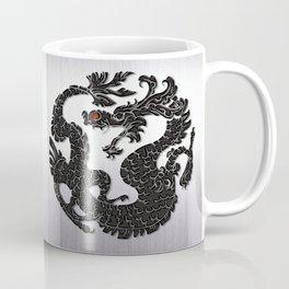 Black Oriental Dragon on Silver Coffee Mug