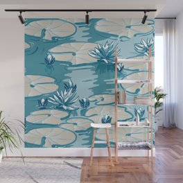 Monets Waterlily Pattern — Teal Wall Mural