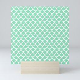 Scales (White & Mint Pattern) Mini Art Print