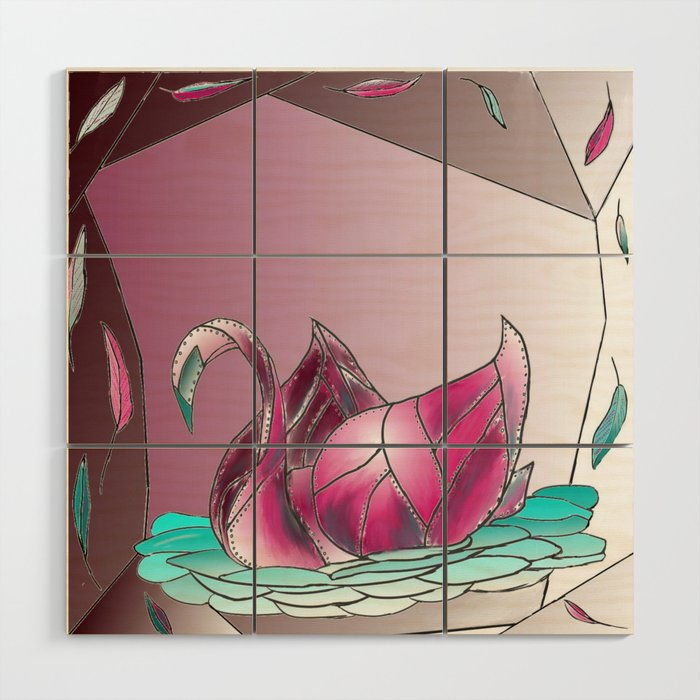 Swan Song in Technicolor Wood Wall Art