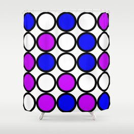 Abstract circle pattern grid with blue and purple colours Shower Curtain