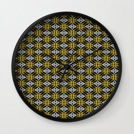 Diamond Art Deco Silver Gold Black Modern Design Pattern Wall Clock
