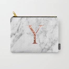 Monogram rose gold marble Y Carry-All Pouch