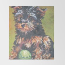 A realistic Yorkshire Terrier pup Portrait by L.A.Shepard fine art painting Throw Blanket