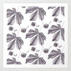 Floral pattern horse-chestnut Art Print