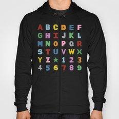 Alphabet on Black Hoody