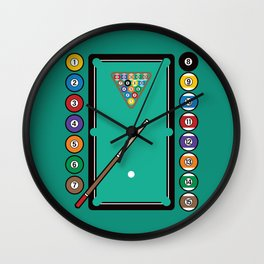 Billiards Table and Equipment Wall Clock