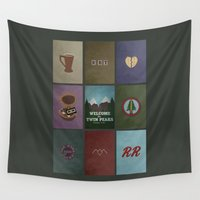 twin peaks Wall Tapestries featuring Twin Peaks colors by avoid peril