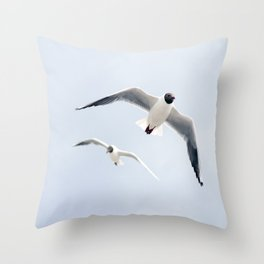 Flying seagulls Throw Pillow
