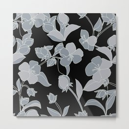Blossoms, Line Drawing in Gray on Rich Black Metal Print