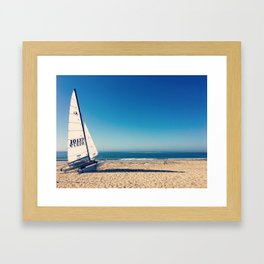 Beached Sailboat Framed Art Print