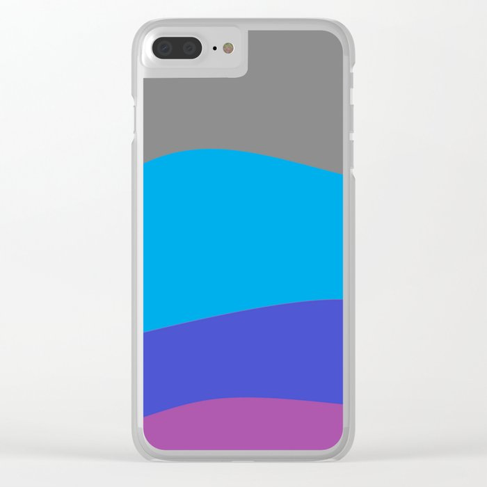 Gray Blue Purple Waves Clear iPhone Case