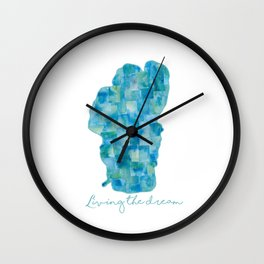Living the Dream Lake Tahoe Watercolor Collage Wall Clock
