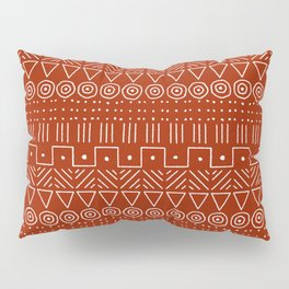 Mudcloth Style 1 in White on Red Pillow Sham