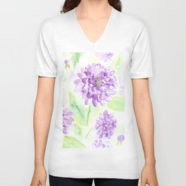 Watercolor blue dahlia flowers Unisex V-Neck