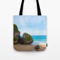 puerto rico Tote Bags featuring Quebradillas, Puerto Rico by Silmagerie