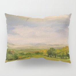 Scenic Autumn Late Afternoon in Vermont Nature Art Landscape Oil Painting Pillow Sham