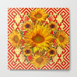 Red Patterns Yellow Sunflowers Abstract Art Metal Print