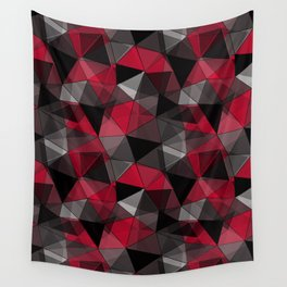 Abstract polygonal pattern.Red, black, grey triangles. Wall Tapestry