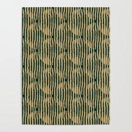 Zen Circles Block Print In Green and Gold Poster